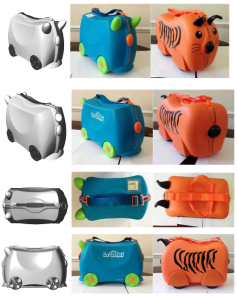 The Trunki CRD is on the left, the Trunki product in the middle and the Kiddee case is on the right)