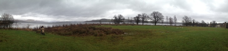 Panoramic shot of Loch Lomond, the seaplane and Cameron House