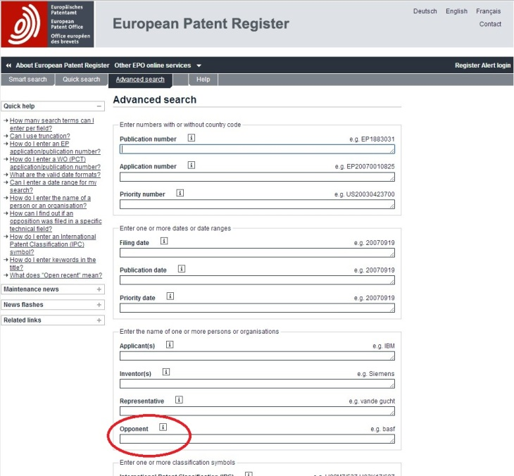 EPO Register Advanced Search