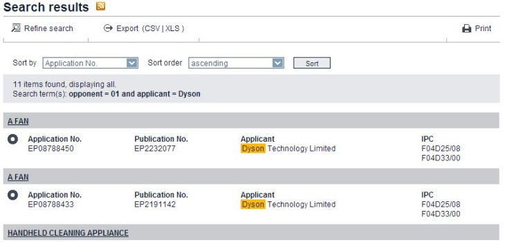 Search results Dyson - Applicant Opponent - 01