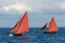 Ireland County Galway Aran Islands Inisheer traditional wooden sailing boat of Galway Bay Galway hooker